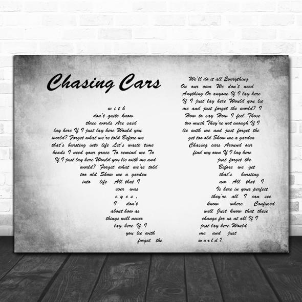 Snow Patrol Chasing Cars Man Lady Couple Grey Decorative Wall Art Gift Song Lyric Print