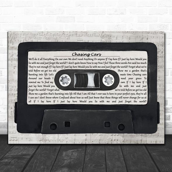 Snow Patrol Chasing Cars Music Script Cassette Tape Decorative Gift Song Lyric Print