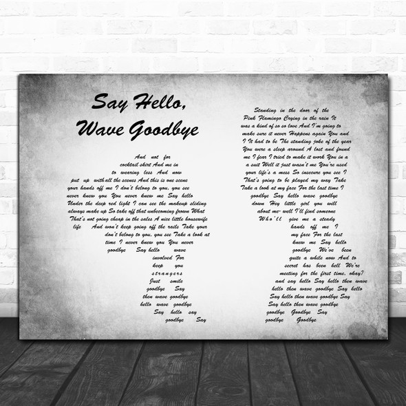 Soft Cell Say Hello, Wave Goodbye Man Lady Couple Grey Decorative Gift Song Lyric Print