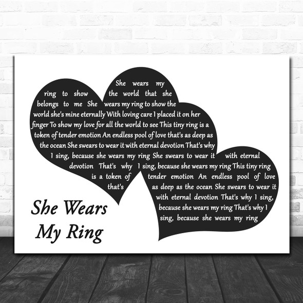 Solomon King She Wears My Ring Landscape Black & White Two Hearts Wall Art Gift Song Lyric Print