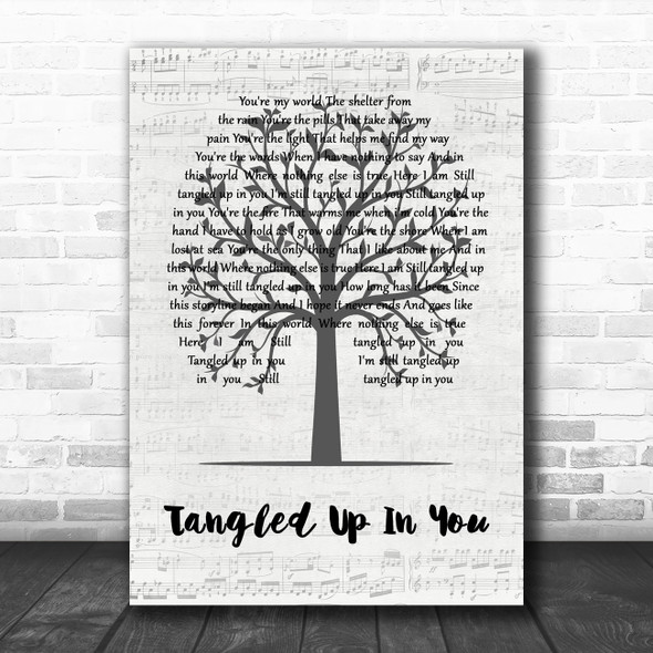 Staind Tangled Up In You Music Script Tree Decorative Wall Art Gift Song Lyric Print