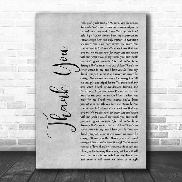 Stan Walker Thank You Grey Rustic Script Decorative Wall Art Gift Song Lyric Print