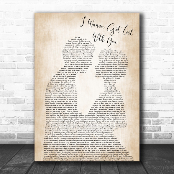 Stereophonics I Wanna Get Lost With You Man Lady Bride Groom Wedding Wall Art Gift Song Lyric Print