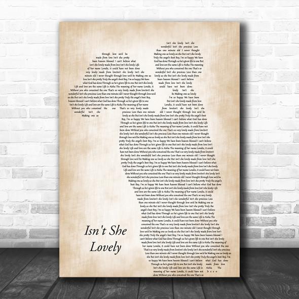 Stevie Wonder Isn't She Lovely Mother & Child Decorative Wall Art Gift Song Lyric Print
