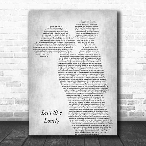 Stevie Wonder Isn't She Lovely Mother & Child Grey Decorative Wall Art Gift Song Lyric Print