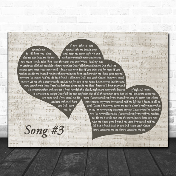 Stone Sour Song #3 Landscape Music Script Two Hearts Decorative Gift Song Lyric Print