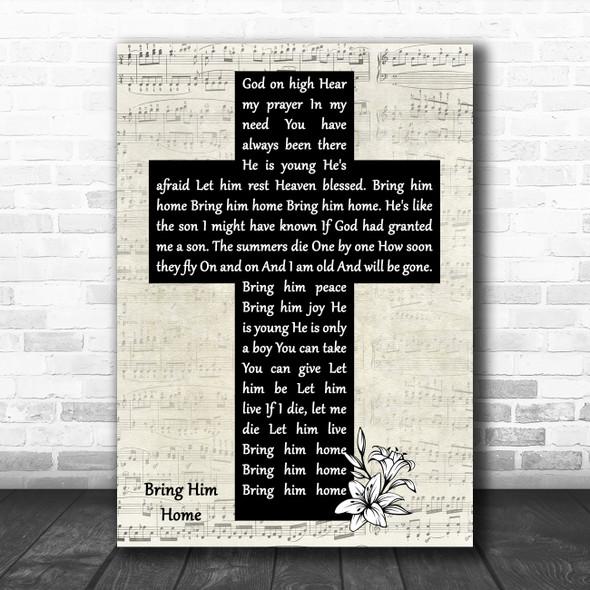 Susan Boyle Bring Him Home Music Script Christian Memorial Cross Wall Art Gift Song Lyric Print