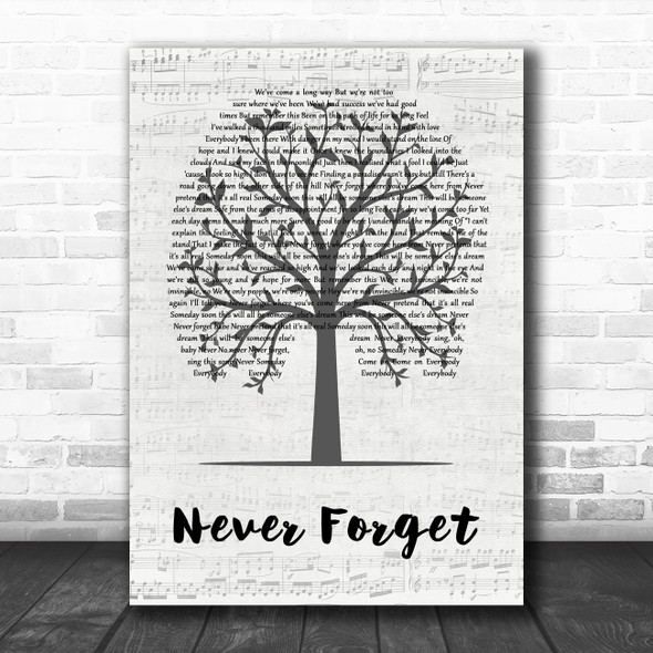Take That Never Forget Music Script Tree Decorative Wall Art Gift Song Lyric Print