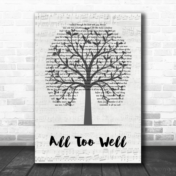 Taylor Swift All Too Well Music Script Tree Decorative Wall Art Gift Song Lyric Print
