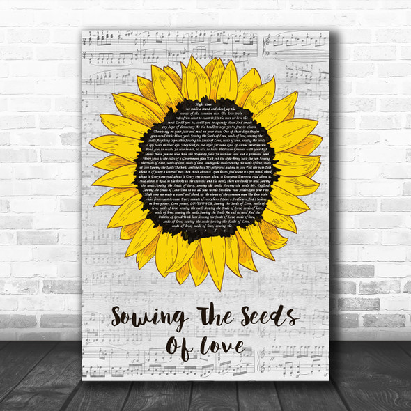 Tears For Fears Sowing The Seeds Of Love Grey Script Sunflower Song Lyric Print