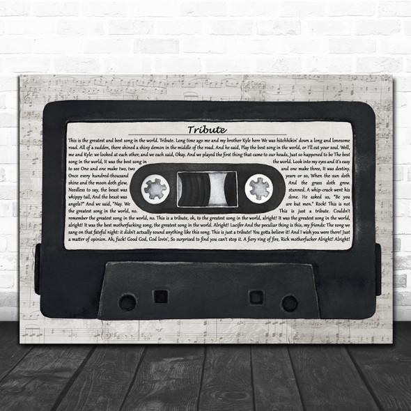 Tenacious D Tribute Music Script Cassette Tape Decorative Wall Art Gift Song Lyric Print