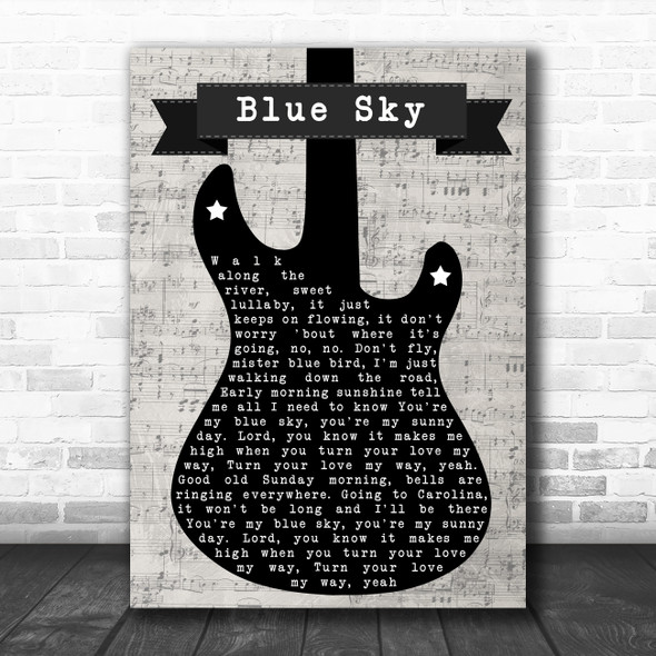 The Allman Brothers Band Blue Sky Electric Guitar Music Script Wall Art Song Lyric Print