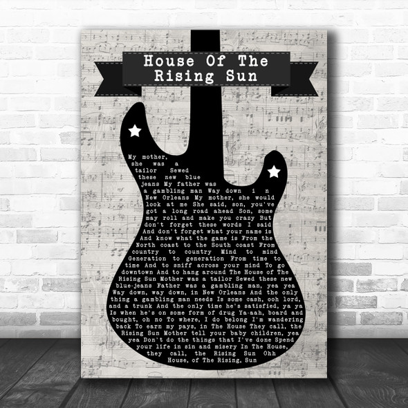 The Animals House of the Rising Sun Electric Guitar Music Script Wall Art Gift Song Lyric Print