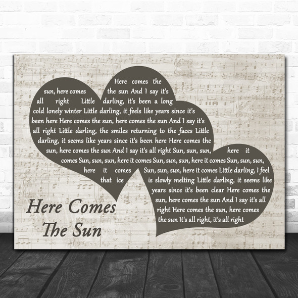 The Beatles Here Comes The Sun Landscape Music Script Two Hearts Wall Art Gift Song Lyric Print