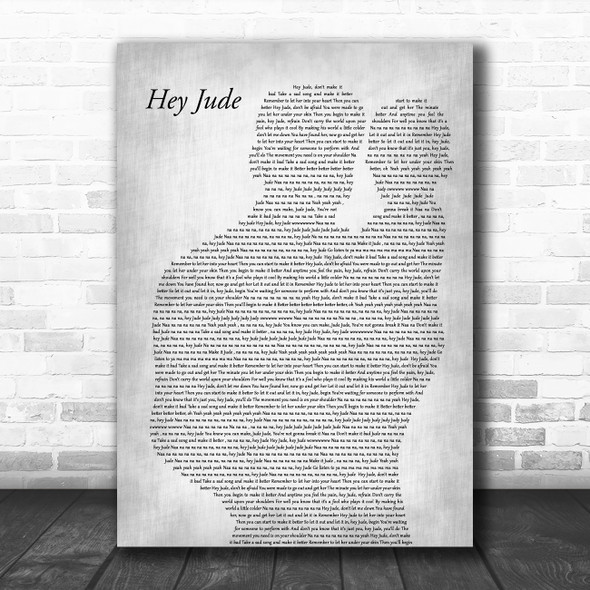 The Beatles Hey Jude Father & Baby Grey Decorative Wall Art Gift Song Lyric Print