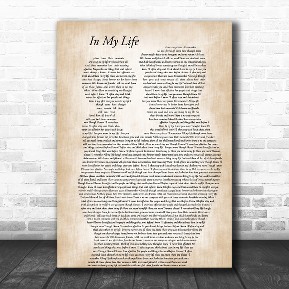 The Beatles In My Life Father & Child Decorative Wall Art Gift Song Lyric Print