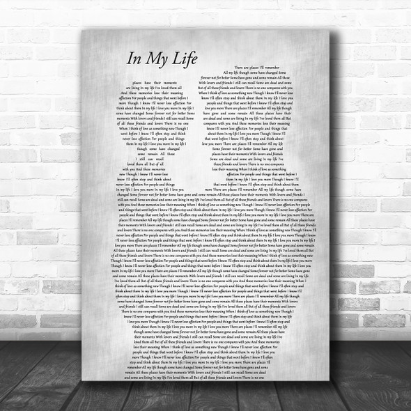 The Beatles In My Life Father & Child Grey Decorative Wall Art Gift Song Lyric Print