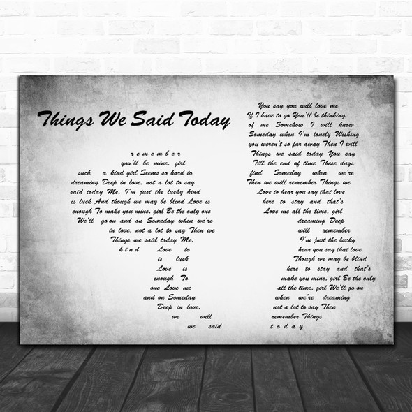 The Beatles Things We Said Today Man Lady Couple Grey Decorative Gift Song Lyric Print