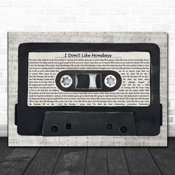 The Boomtown Rats I Don't Like Mondays Music Script Cassette Tape Gift Song Lyric Print
