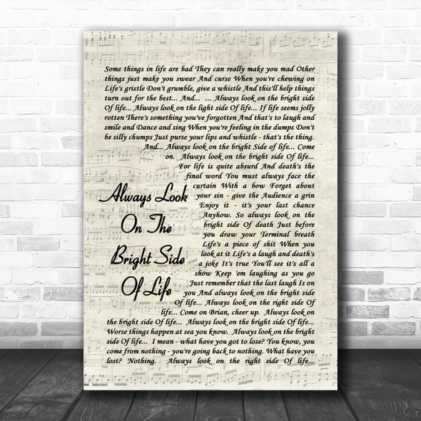 Always Look On The Bright Side Of Life Monty Python Song Lyric Script Music Wall Art Print