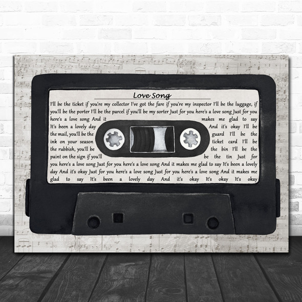 The Damned Love Song Music Script Cassette Tape Decorative Wall Art Gift Song Lyric Print