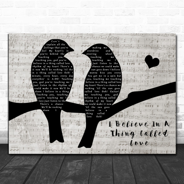 The Darkness I Believe In A Thing Called Love Lovebirds Music Script Gift Song Lyric Print