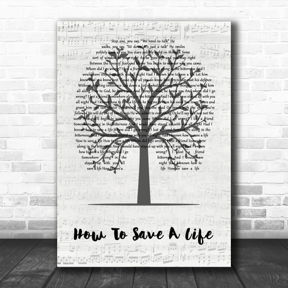 The Fray How To Save A Life Music Script Tree Decorative Wall Art Gift Song Lyric Print
