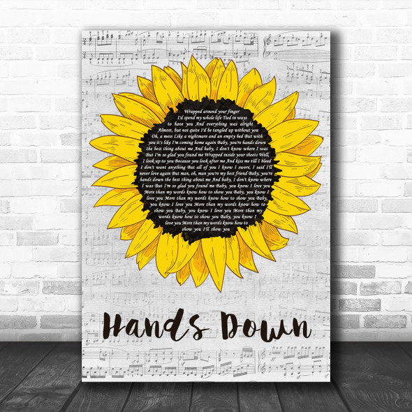 The Greeting Committee Hands Down Grey Script Sunflower Decorative Wall Art Gift Song Lyric Print