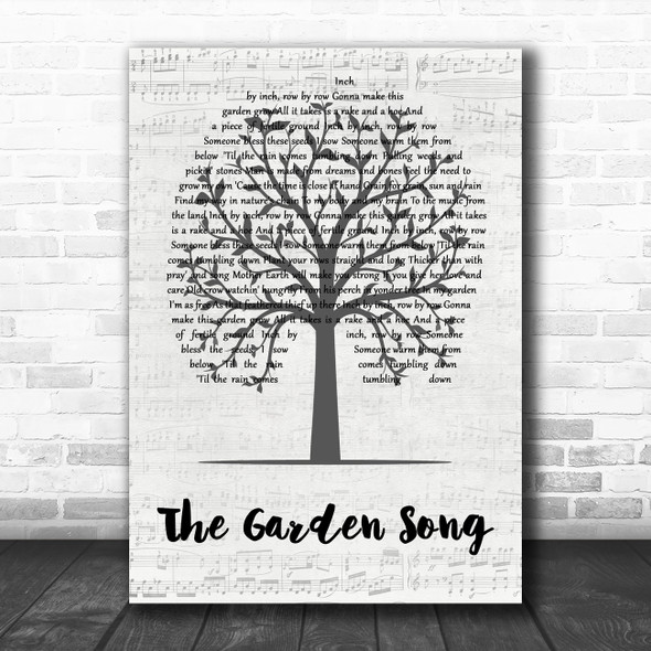 The Houghton Weavers The Garden Song Music Script Tree Decorative Wall Art Gift Song Lyric Print