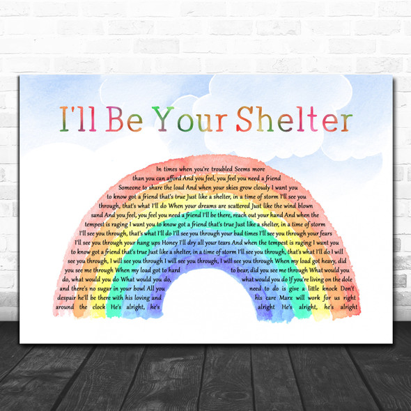 The Housemartins I'll Be Your Shelter (Just Like A Shelter) Watercolour Rainbow & Clouds Song Lyric Print