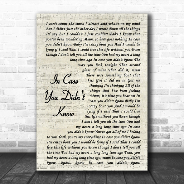 Brett Young In Case You Didn't Know Vintage Script Song Lyric Music Wall Art Print