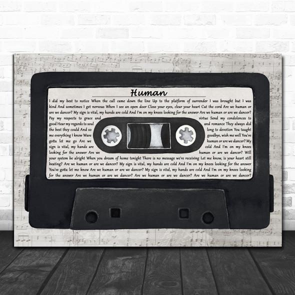 The Killers Human Music Script Cassette Tape Decorative Wall Art Gift Song Lyric Print