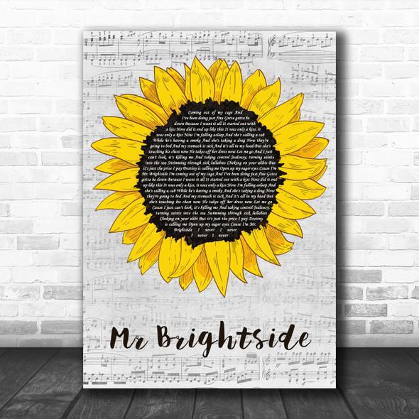 The Killers Mr Brightside Grey Script Sunflower Decorative Wall Art Gift Song Lyric Print