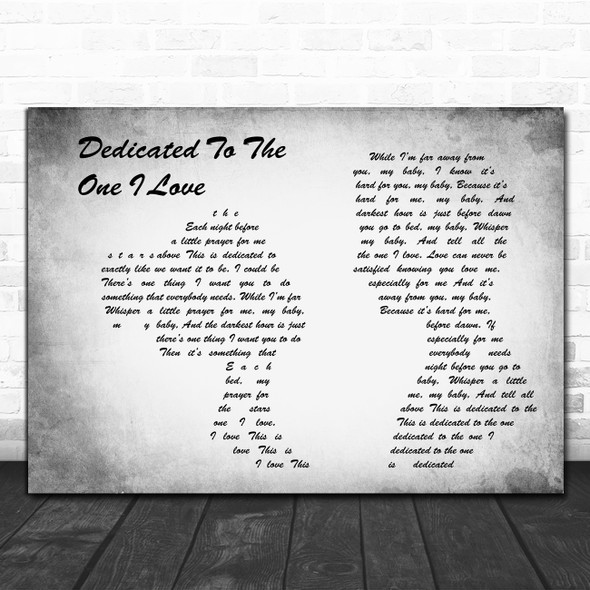 The Mamas And The Papas Dedicated To The One I Love Man Lady Couple Grey Song Lyric Print