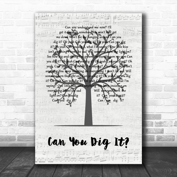 The Mock Turtles Can You Dig It Music Script Tree Decorative Wall Art Gift Song Lyric Print