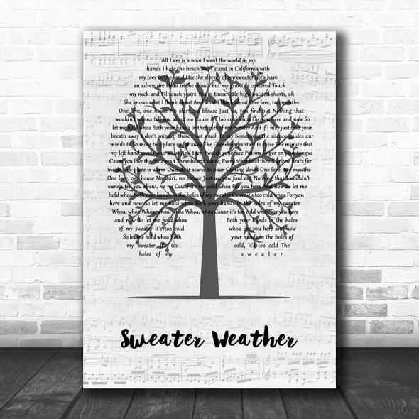 The Neighbourhood Sweater Weather Music Script Tree Decorative Wall Art Gift Song Lyric Print