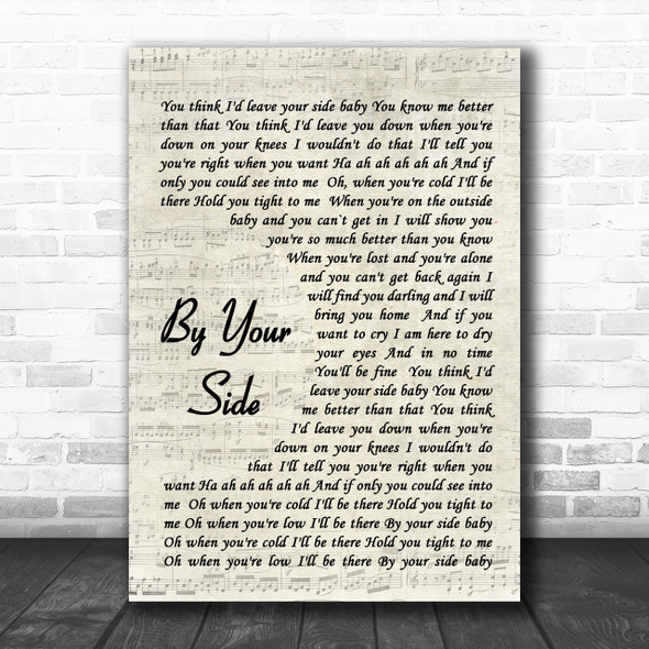 By Your Side Sade Song Lyric Vintage Script Music Wall Art Print