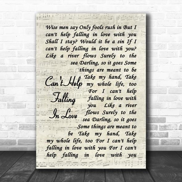 Can't Help Falling In Love Elvis Presley Song Lyric Vintage Script Music Wall Art Print