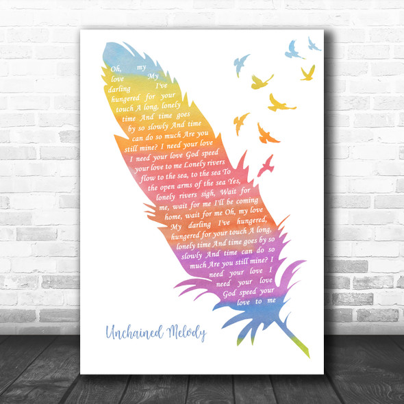 The Righteous Brothers Unchained Melody Watercolour Feather & Birds Gift Song Lyric Print
