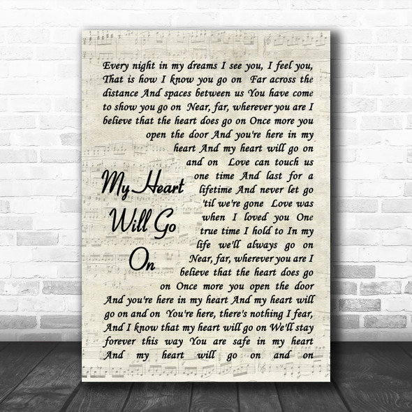 Celine Dion My Heart Will Go On Vintage Script Song Lyric Music Wall Art Print