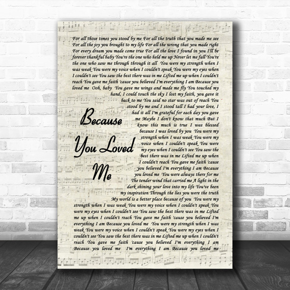 Celine Dione Because You Loved Me Vintage Script Song Lyric Music Wall Art Print
