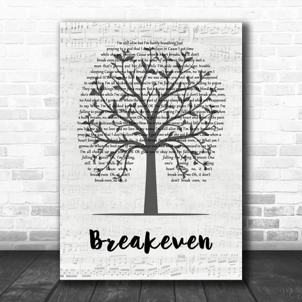 The Script Breakeven Music Script Tree Decorative Wall Art Gift Song Lyric Print