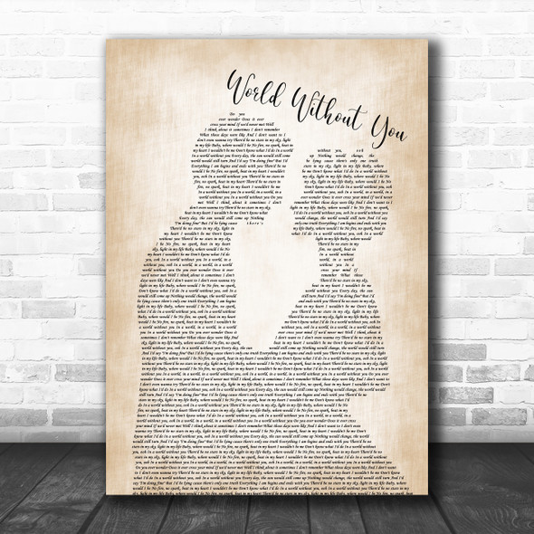 The Shires World Without You Man Lady Bride Groom Wedding Decorative Gift Song Lyric Print