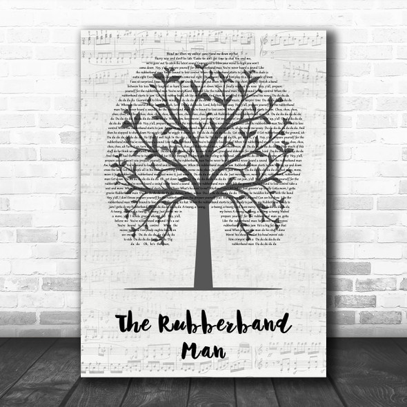The Spinners The Rubberband Man Music Script Tree Decorative Wall Art Gift Song Lyric Print