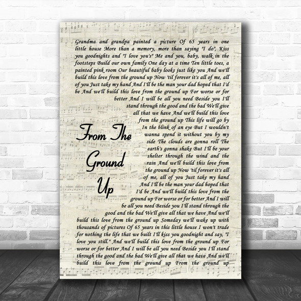 Dan + Shay From The Ground Up Song Lyric Vintage Script Music Wall Art Print