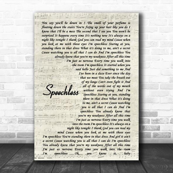 Dan + Shay Speechless Song Lyric Vintage Script Music Wall Art Print
