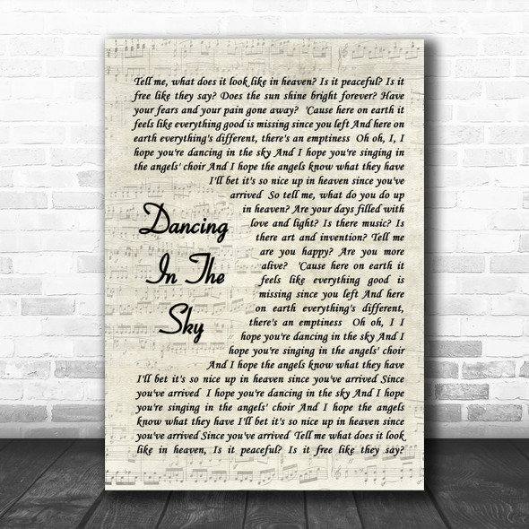 Dani And Lizzy Dancing In The Sky Vintage Script Song Lyric Music Wall Art Print
