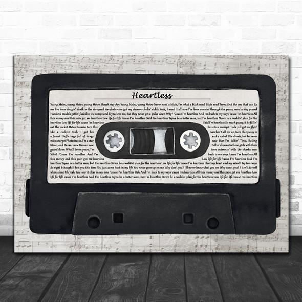 The Weeknd Heartless Music Script Cassette Tape Decorative Wall Art Gift Song Lyric Print