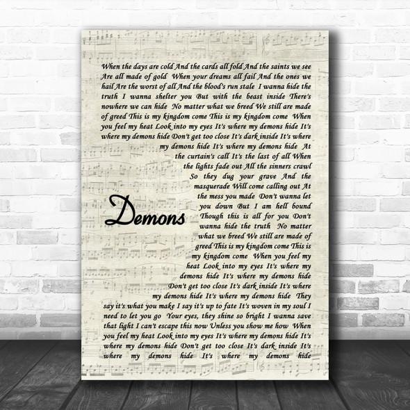 Demons Imagine Dragons Song Lyric Vintage Script Music Wall Art Print