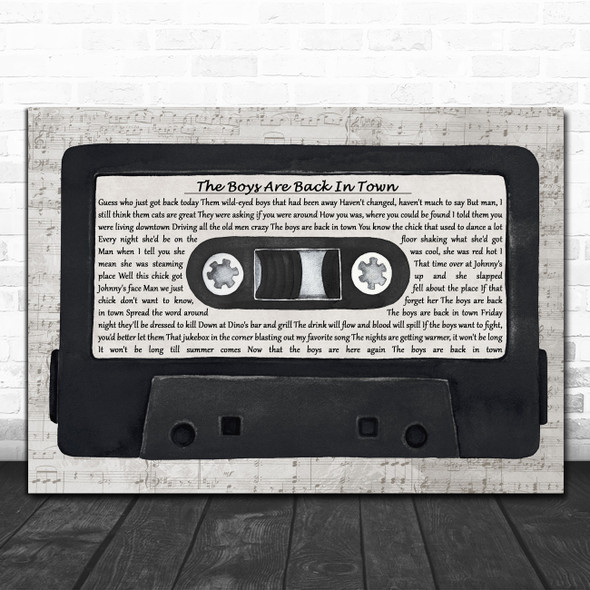 Thin Lizzy The Boys Are Back In Town Music Script Cassette Tape Wall Art Gift Song Lyric Print